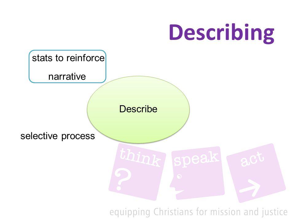 Describing Describe narrative stats to reinforce selective process