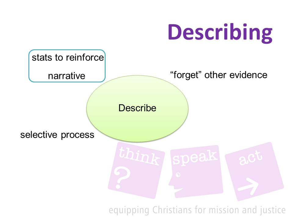 Describing Describe narrative forget other evidence stats to reinforce selective process