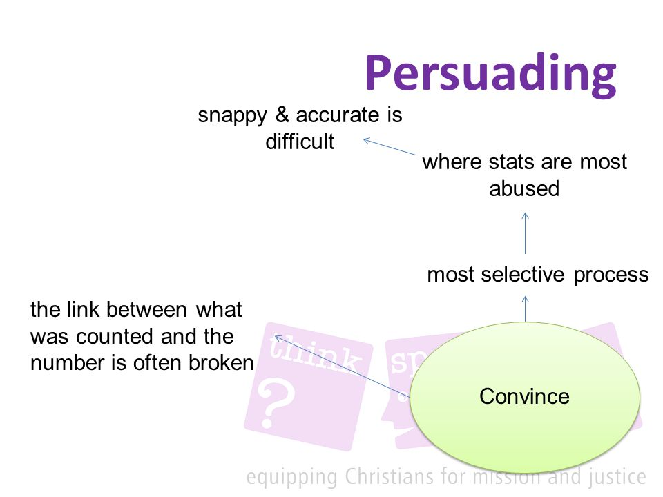 Persuading Convince most selective process where stats are most abused snappy & accurate is difficult the link between what was counted and the number is often broken