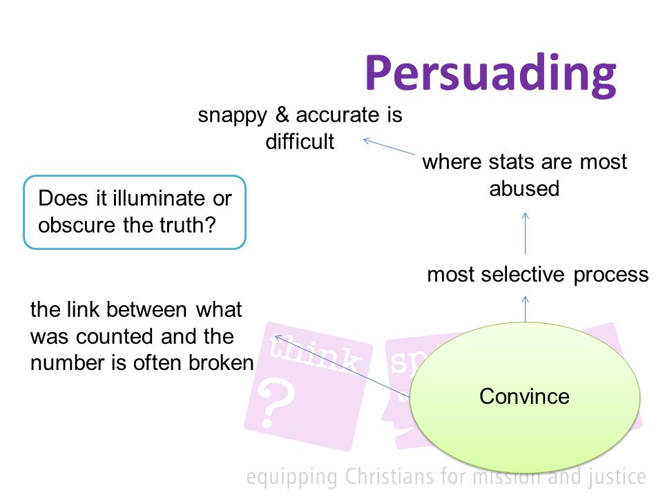 Persuading Convince most selective process where stats are most abused snappy & accurate is difficult the link between what was counted and the number is often broken Does it illuminate or obscure the truth?
