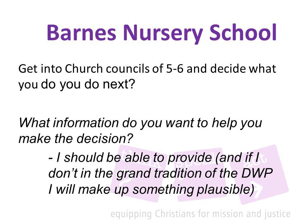 Barnes Nursery School Get into Church councils of 5-6 and decide what you do you do next.