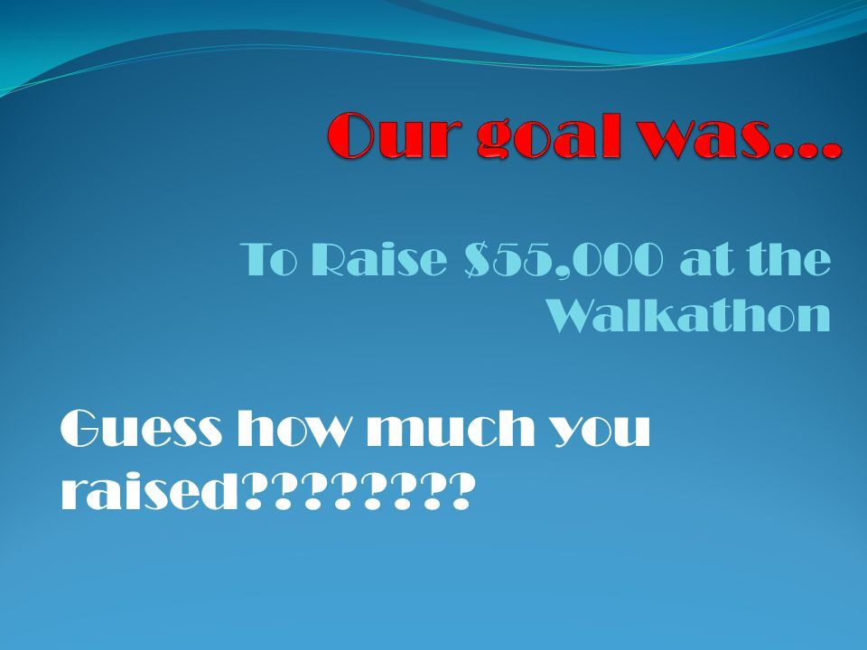 To Raise $55,000 at the Walkathon Guess how much you raised