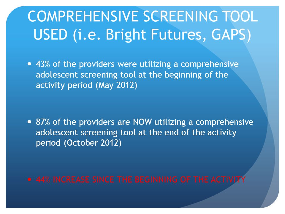 COMPREHENSIVE SCREENING TOOL USED (i.e. Bright Futures, GAPS) 43% of the providers were utilizing a comprehensive adolescent screening tool at the beg