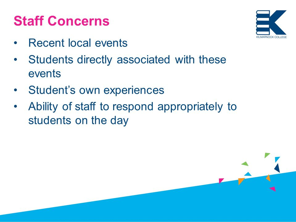 Staff Concerns Recent local events Students directly associated with these events Student's own experiences Ability of staff to respond appropriately to students on the day