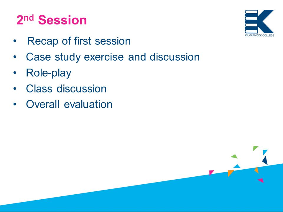 2 nd Session Recap of first session Case study exercise and discussion Role-play Class discussion Overall evaluation