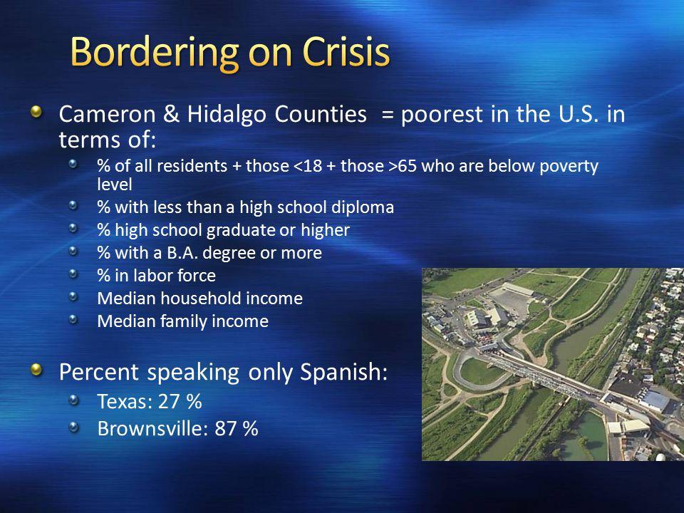 Cameron & Hidalgo Counties = poorest in the U.S.