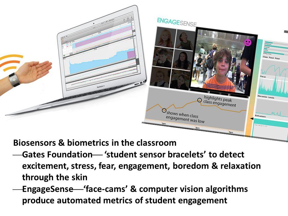 Biosensors & biometrics in the classroom  Gates Foundation  'student sensor bracelets' to detect excitement, stress, fear, engagement, boredom & rel