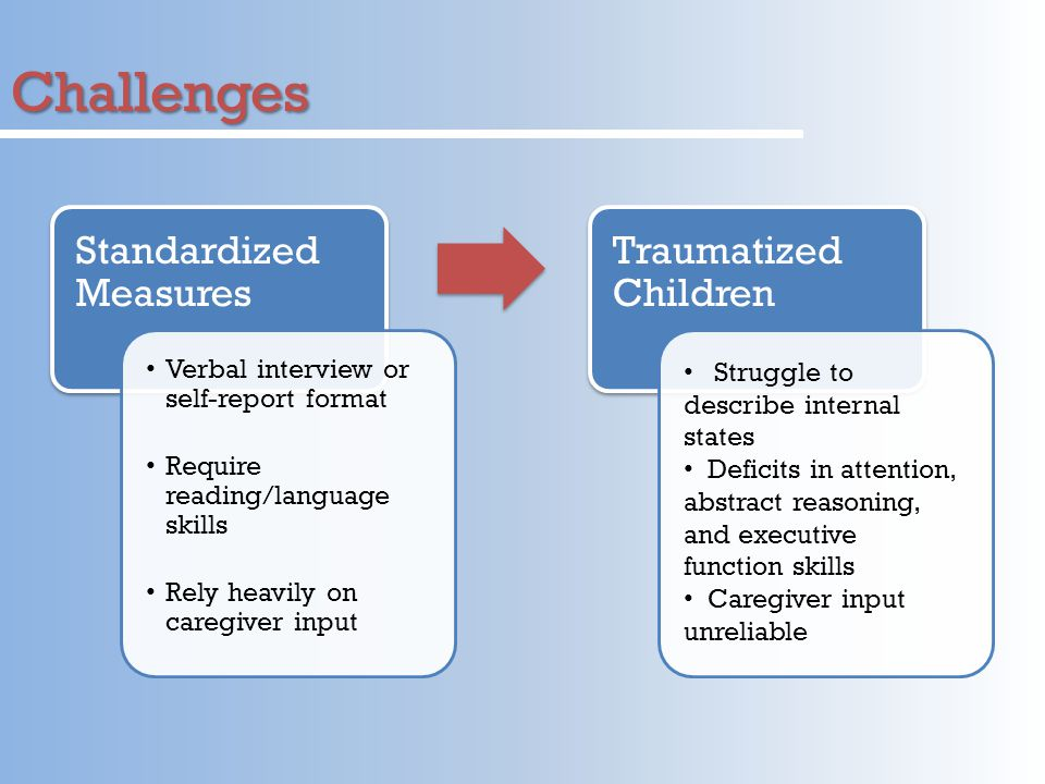 Challenges Standardized Measures Verbal interview or self-report format Require reading/language skills Rely heavily on caregiver input Traumatized Children Struggle to describe internal states Deficits in attention, abstract reasoning, and executive function skills Caregiver input unreliable