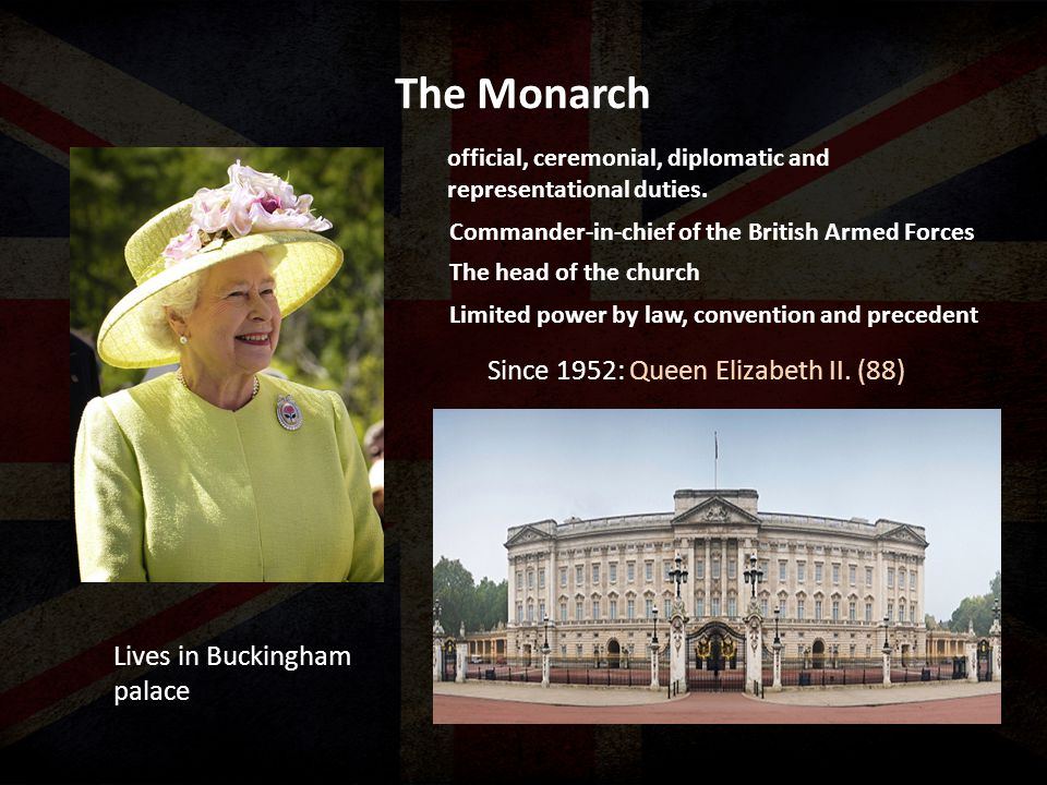 The Monarch Lives in Buckingham palace Since 1952: Queen Elizabeth II. (88) official, ceremonial, diplomatic and representational duties. Commander-in