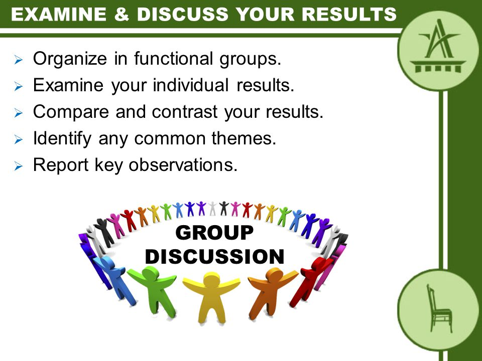  Organize in functional groups.  Examine your individual results.