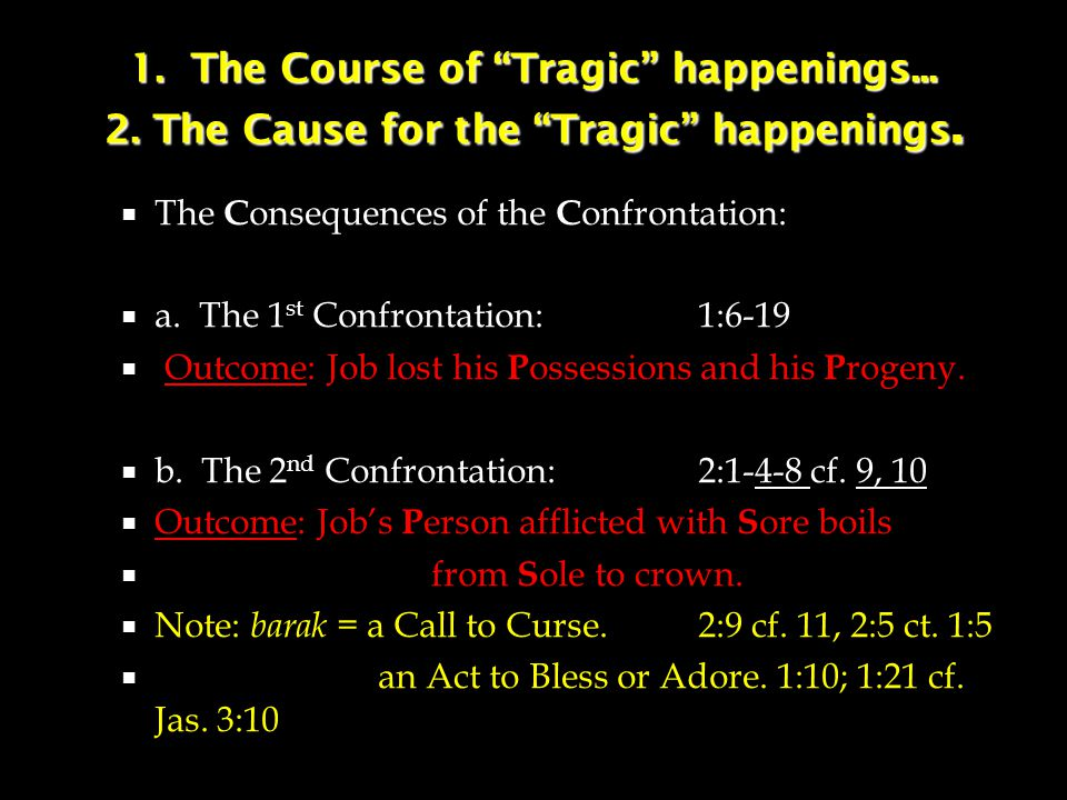 1. The Course of Tragic happenings... 2. The Cause for the Tragic happenings.