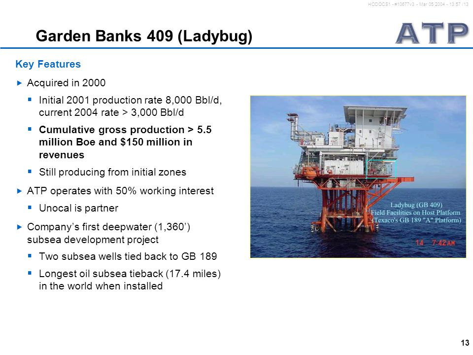 13 HODOCS1 - #10677v3 - Mar 05 2004 - 13:57 /13 Garden Banks 409 (Ladybug) Key Features  Acquired in 2000  Initial 2001 production rate 8,000 Bbl/d, current 2004 rate > 3,000 Bbl/d  Cumulative gross production > 5.5 million Boe and $150 million in revenues  Still producing from initial zones  ATP operates with 50% working interest  Unocal is partner  Company's first deepwater (1,360') subsea development project  Two subsea wells tied back to GB 189  Longest oil subsea tieback (17.4 miles) in the world when installed