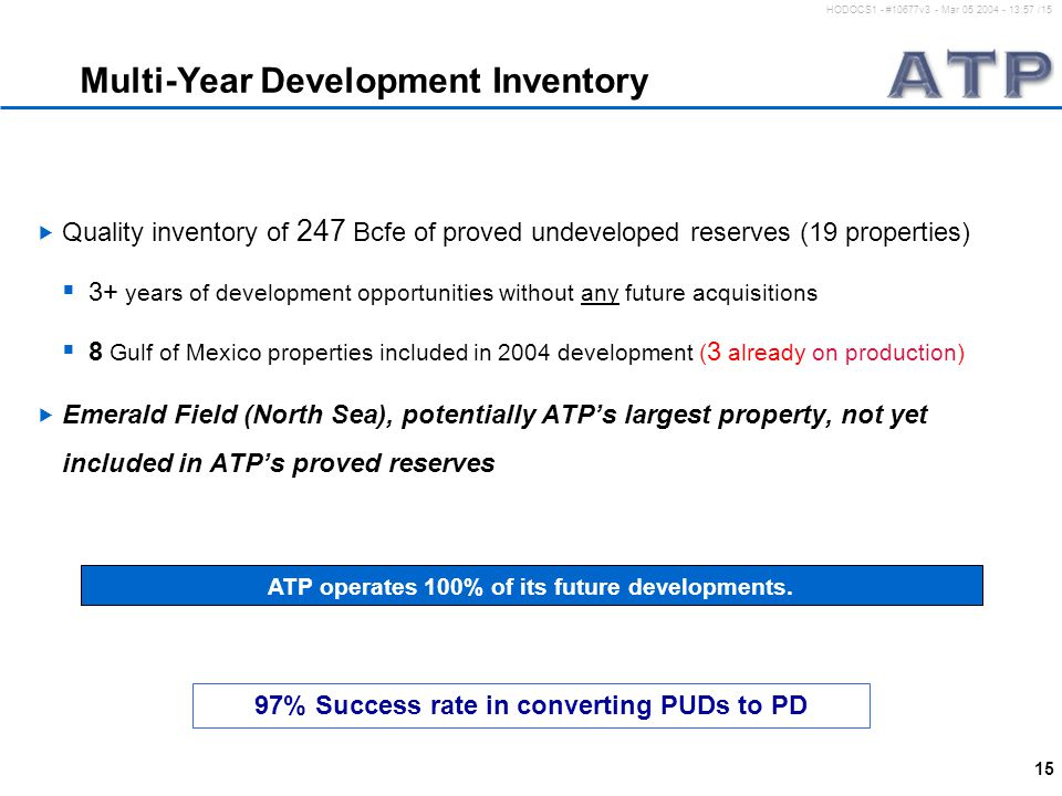15 HODOCS1 - #10677v3 - Mar 05 2004 - 13:57 /15 Multi-Year Development Inventory  Quality inventory of 247 Bcfe of proved undeveloped reserves (19 properties)  3+ years of development opportunities without any future acquisitions  8 Gulf of Mexico properties included in 2004 development ( 3 already on production)  Emerald Field (North Sea), potentially ATP's largest property, not yet included in ATP's proved reserves ATP operates 100% of its future developments.