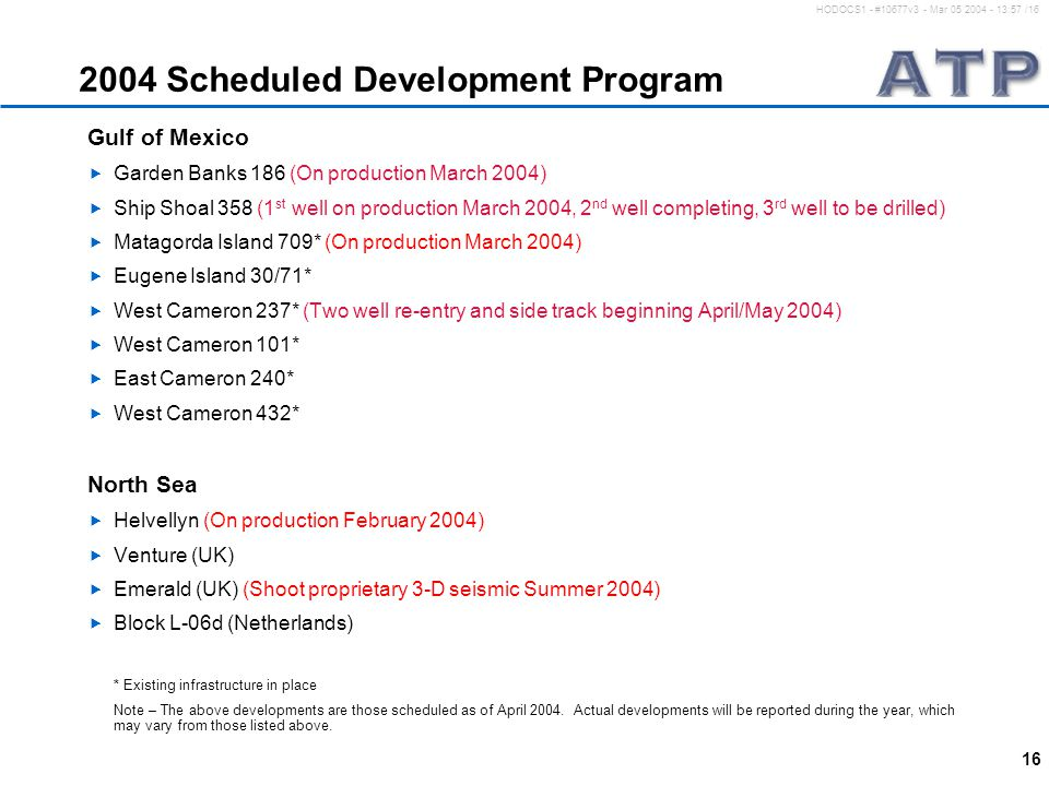 16 HODOCS1 - #10677v3 - Mar 05 2004 - 13:57 /16 2004 Scheduled Development Program Gulf of Mexico  Garden Banks 186 (On production March 2004)  Ship Shoal 358 (1 st well on production March 2004, 2 nd well completing, 3 rd well to be drilled)  Matagorda Island 709* (On production March 2004)  Eugene Island 30/71*  West Cameron 237* (Two well re-entry and side track beginning April/May 2004)  West Cameron 101*  East Cameron 240*  West Cameron 432* North Sea  Helvellyn (On production February 2004)  Venture (UK)  Emerald (UK) (Shoot proprietary 3-D seismic Summer 2004)  Block L-06d (Netherlands) * Existing infrastructure in place Note – The above developments are those scheduled as of April 2004.