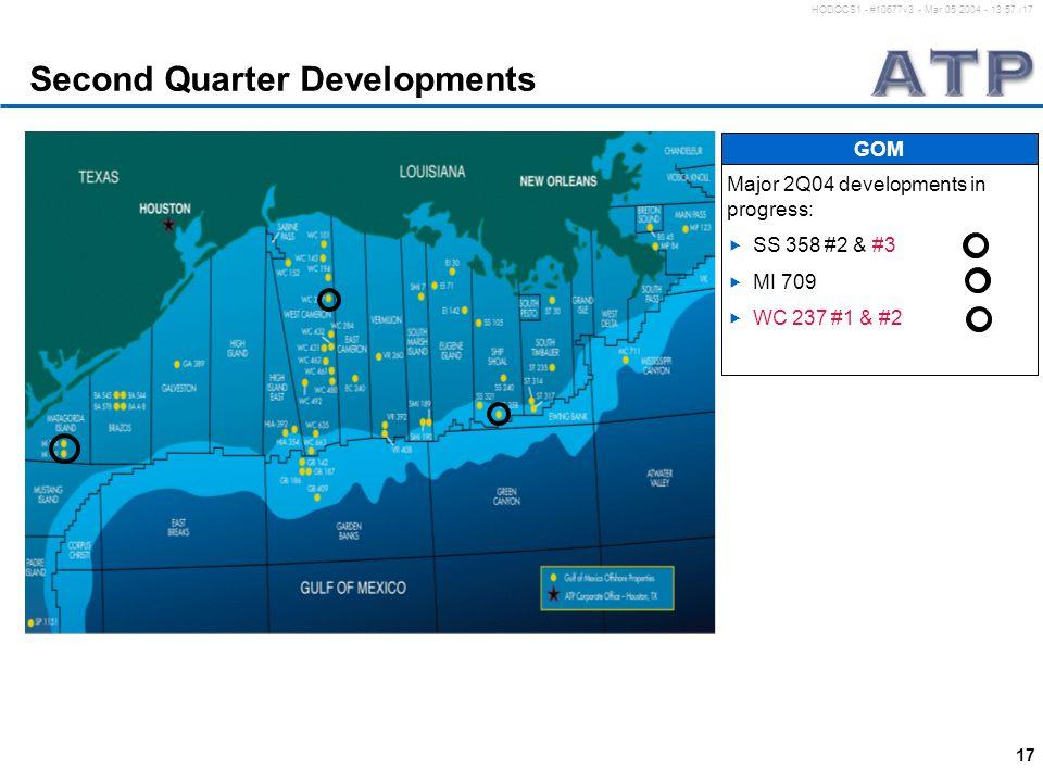 17 HODOCS1 - #10677v3 - Mar 05 2004 - 13:57 /17 Second Quarter Developments Major 2Q04 developments in progress:  SS 358 #2 & #3  MI 709  WC 237 #1 & #2 GOM