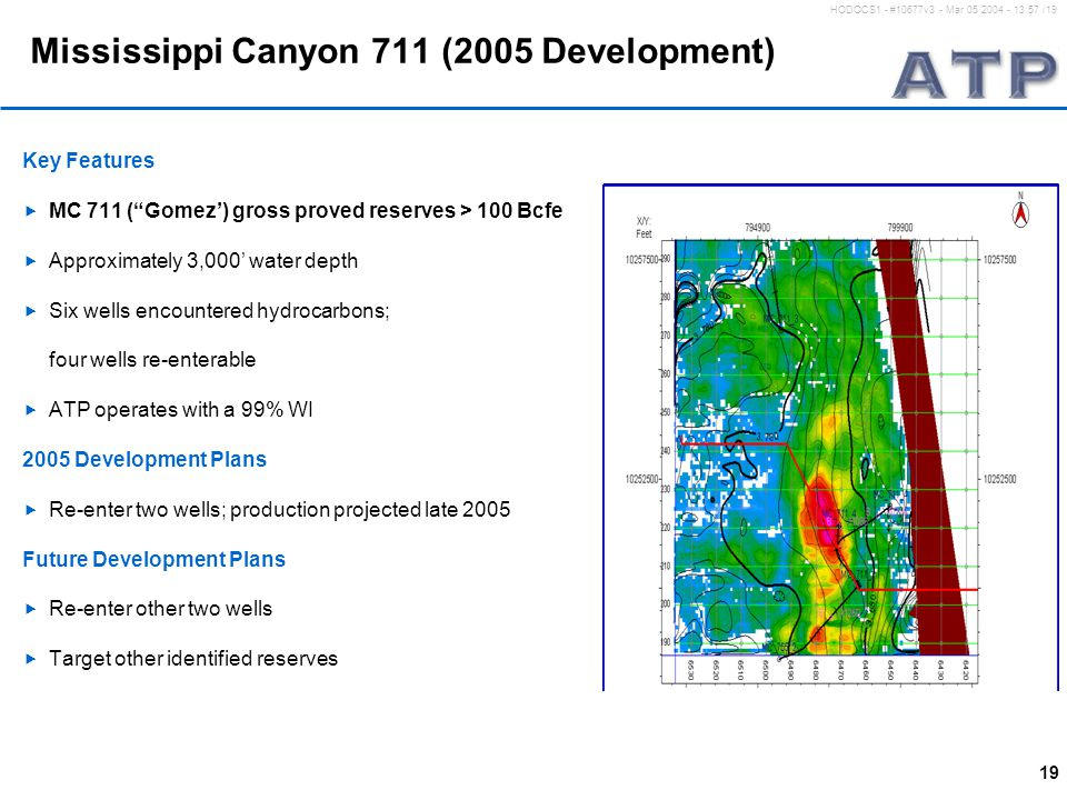 "19 HODOCS1 - #10677v3 - Mar 05 2004 - 13:57 /19 Mississippi Canyon 711 (2005 Development) Key Features  MC 711 (""Gomez') gross proved reserves > 100"