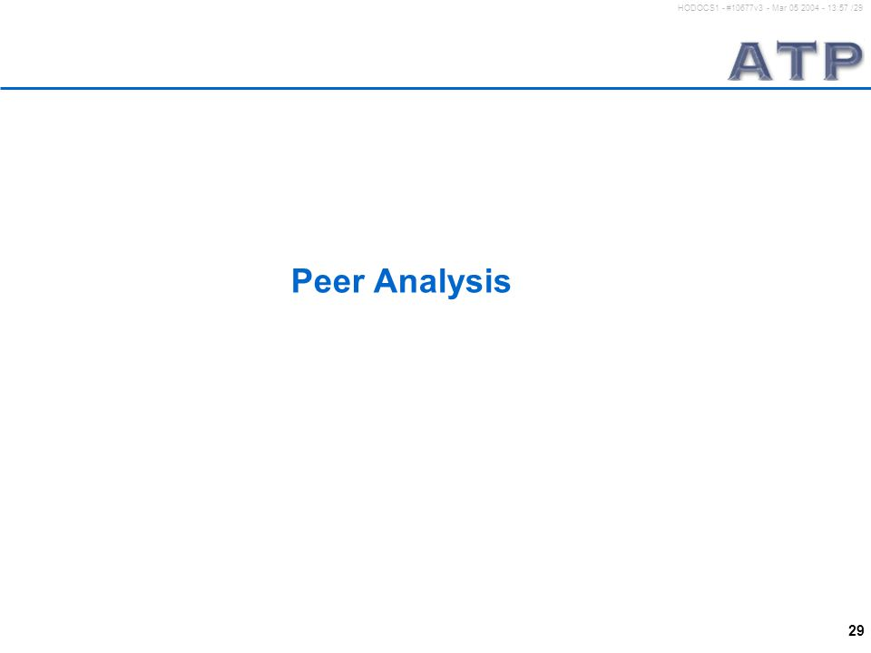 29 HODOCS1 - #10677v3 - Mar 05 2004 - 13:57 /29 Peer Analysis