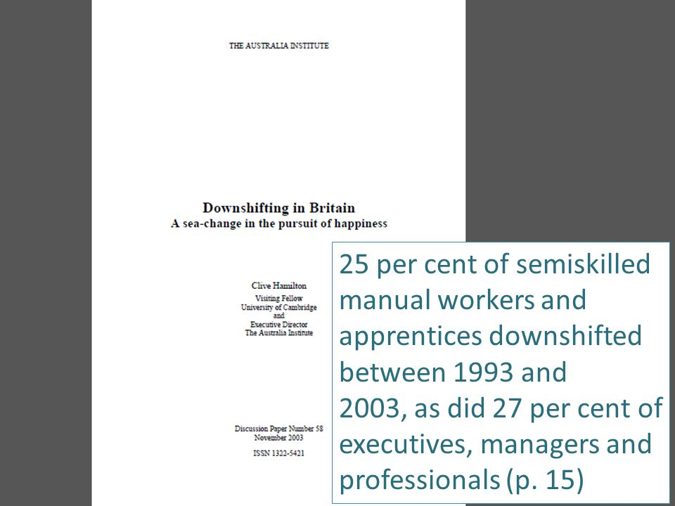 25 per cent of semiskilled manual workers and apprentices downshifted between 1993 and 2003, as did 27 per cent of executives, managers and professionals (p.