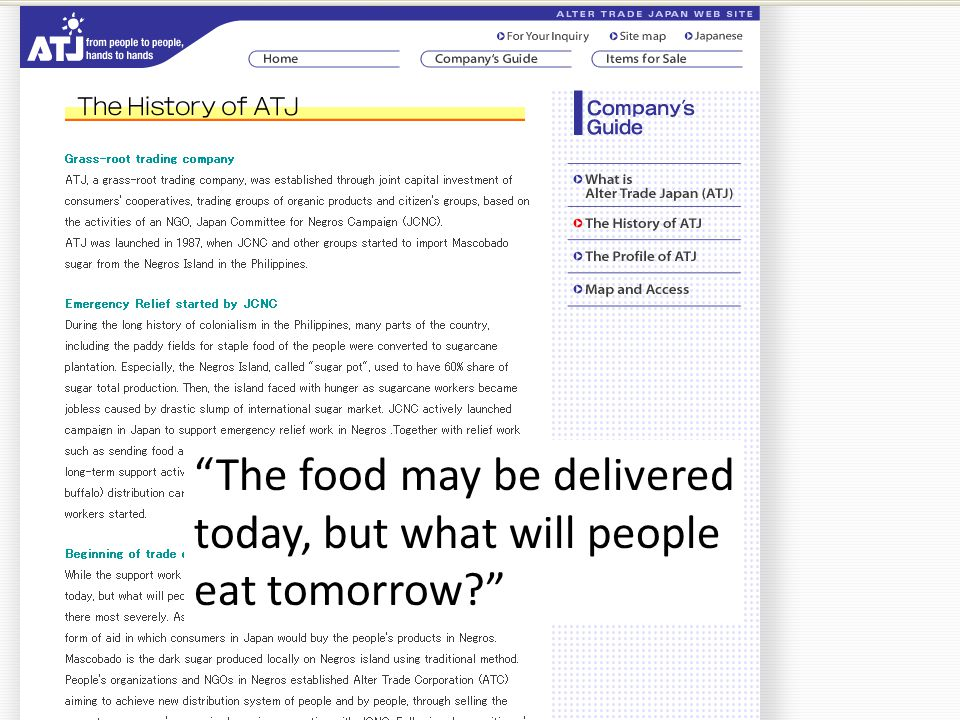 The food may be delivered today, but what will people eat tomorrow