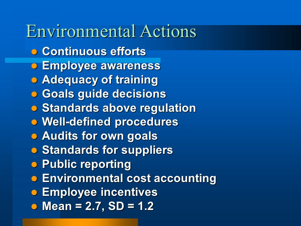 Environmental Actions Continuous efforts Continuous efforts Employee awareness Employee awareness Adequacy of training Adequacy of training Goals guid