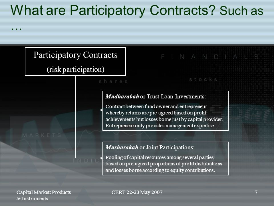 Capital Market: Products & Instruments CERT 22-23 May 20077 What are Participatory Contracts? Such as … Participatory Contracts (risk participation) M