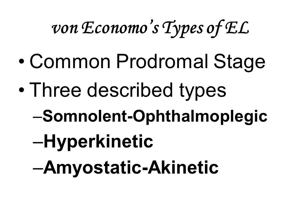 von Economo's Types of EL Common Prodromal Stage Three described types –Somnolent-Ophthalmoplegic –Hyperkinetic –Amyostatic-Akinetic