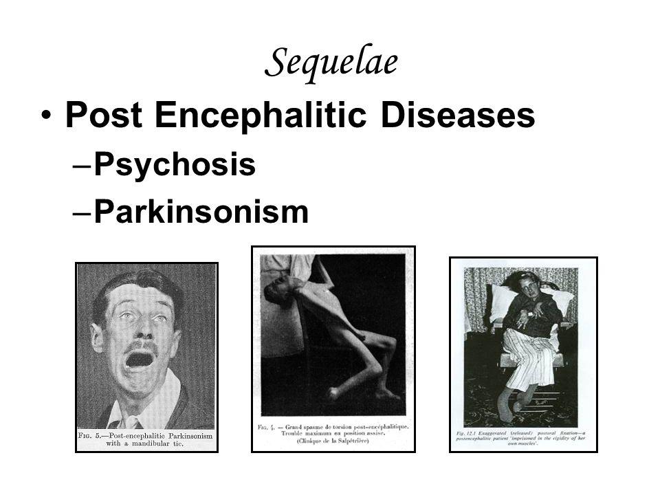 Sequelae Post Encephalitic Diseases –Psychosis –Parkinsonism