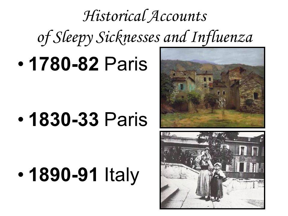 Historical Accounts of Sleepy Sicknesses and Influenza 1780-82 Paris 1830-33 Paris 1890-91 Italy