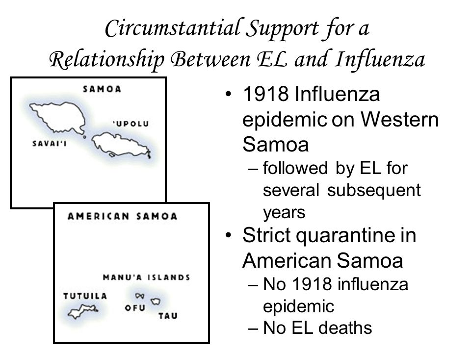 Circumstantial Support for a Relationship Between EL and Influenza 1918 Influenza epidemic on Western Samoa –followed by EL for several subsequent years Strict quarantine in American Samoa –No 1918 influenza epidemic –No EL deaths