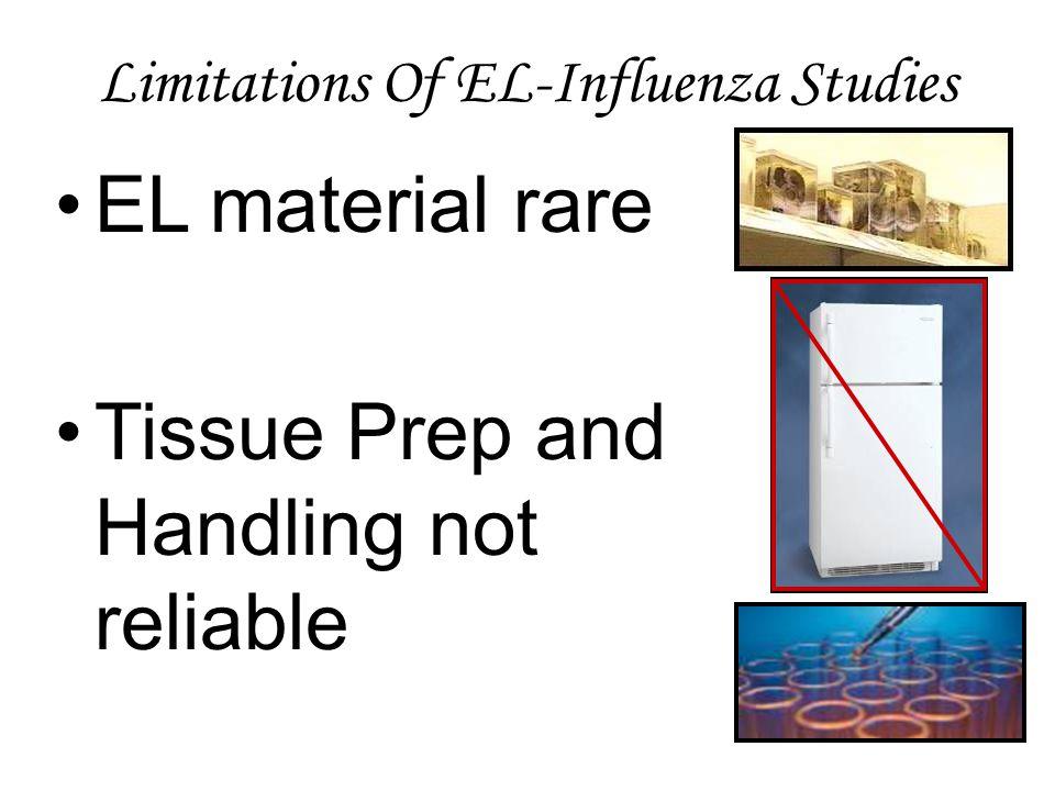 Limitations Of EL-Influenza Studies EL material rare Tissue Prep and Handling not reliable