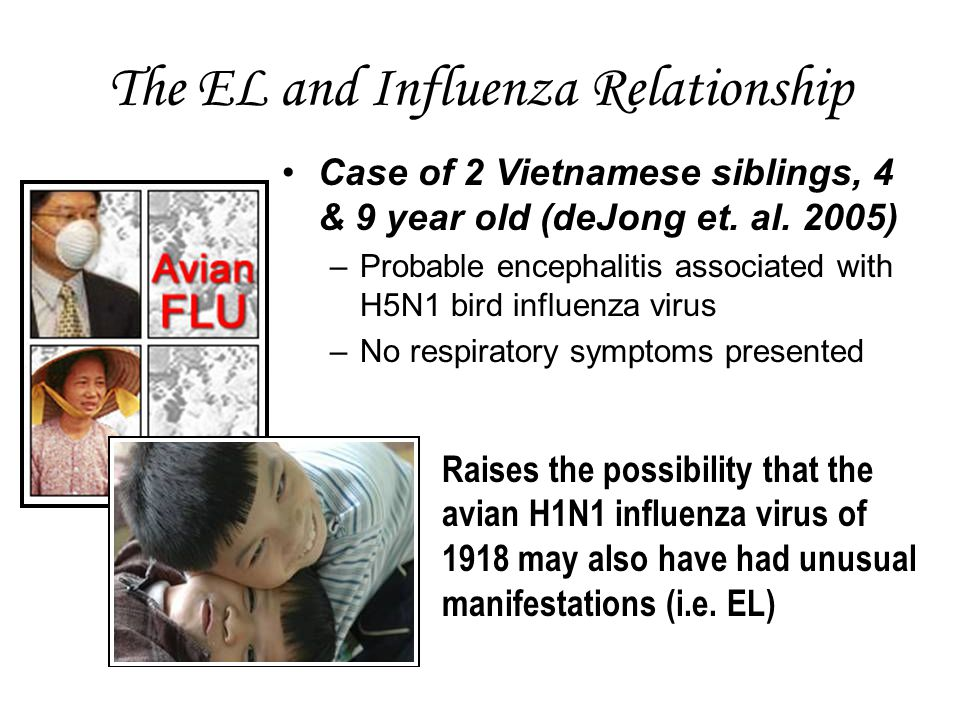 The EL and Influenza Relationship Case of 2 Vietnamese siblings, 4 & 9 year old (deJong et.