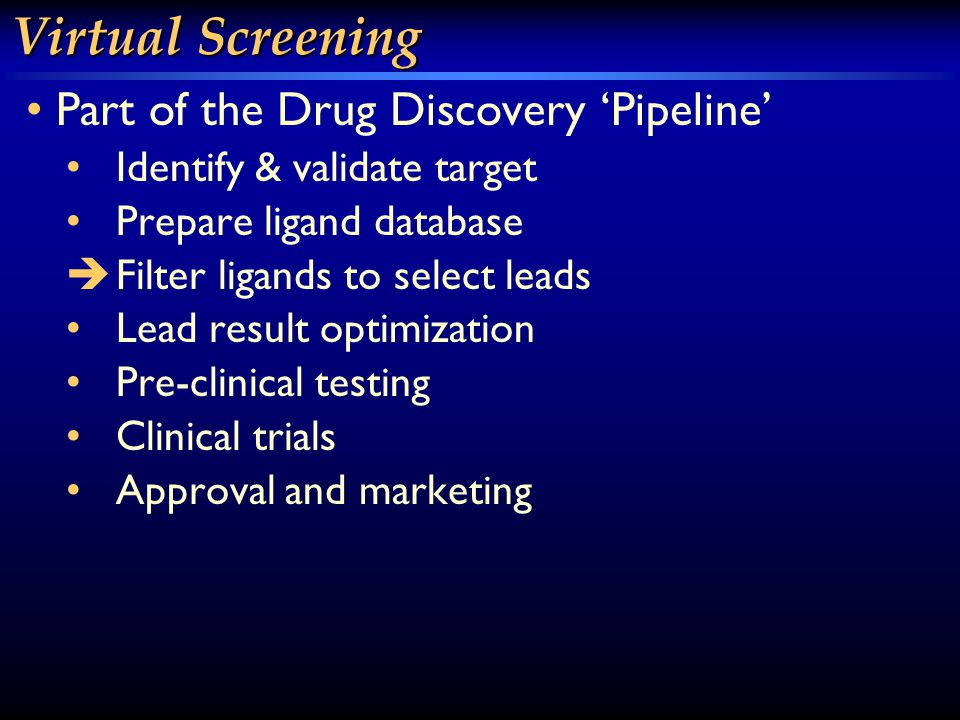 Virtual Screening Part of the Drug Discovery 'Pipeline' Identify & validate target Prepare ligand database  Filter ligands to select leads Lead result optimization Pre-clinical testing Clinical trials Approval and marketing