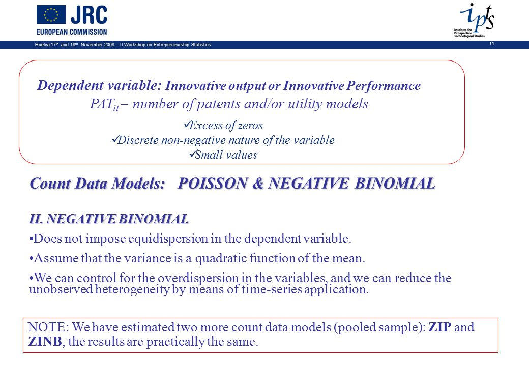 Huelva 17 th and 18 th November 2008 – II Workshop on Entrepreneurship Statistics 11 Dependent variable: Innovative output or Innovative Performance PAT it = number of patents and/or utility models Excess of zeros Discrete non-negative nature of the variable Small values Count Data Models: POISSON & NEGATIVE BINOMIAL II.