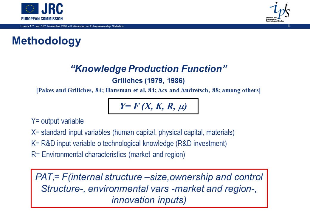 Huelva 17 th and 18 th November 2008 – II Workshop on Entrepreneurship Statistics 8 Y= F (X, K, R,  ) Y= output variable X= standard input variables (human capital, physical capital, materials) K= R&D input variable o technological knowledge (R&D investment) R= Environmental characteristics (market and region) PAT i = F(internal structure –size,ownership and control Structure-, environmental vars -market and region-, innovation inputs) Methodology Knowledge Production Function Griliches (1979, 1986) [Pakes and Griliches, 84; Hausman et al, 84; Acs and Audretsch, 88; among others]