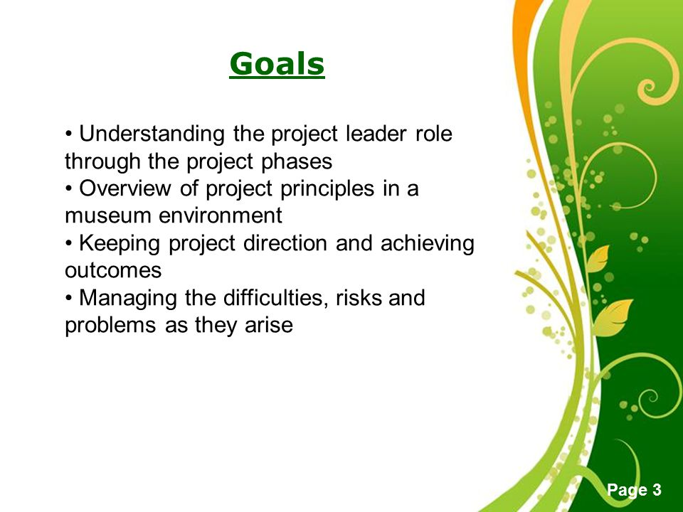 Free Powerpoint Templates Page 3 Goals Understanding the project leader role through the project phases Overview of project principles in a museum env
