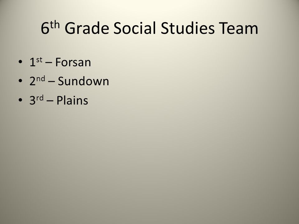 6 th Grade Social Studies Team 1 st – Forsan 2 nd – Sundown 3 rd – Plains