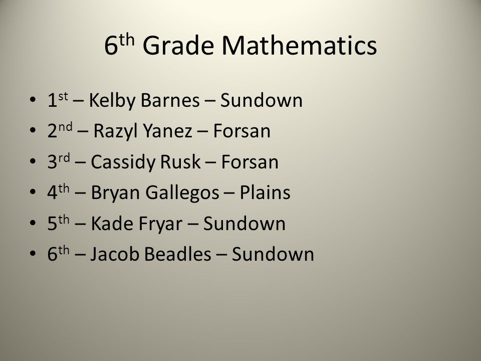 6 th Grade Mathematics 1 st – Kelby Barnes – Sundown 2 nd – Razyl Yanez – Forsan 3 rd – Cassidy Rusk – Forsan 4 th – Bryan Gallegos – Plains 5 th – Kade Fryar – Sundown 6 th – Jacob Beadles – Sundown