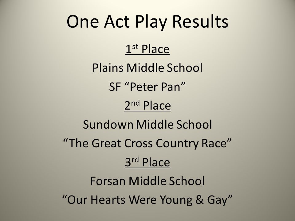 One Act Play Results 1 st Place Plains Middle School SF Peter Pan 2 nd Place Sundown Middle School The Great Cross Country Race 3 rd Place Forsan Middle School Our Hearts Were Young & Gay