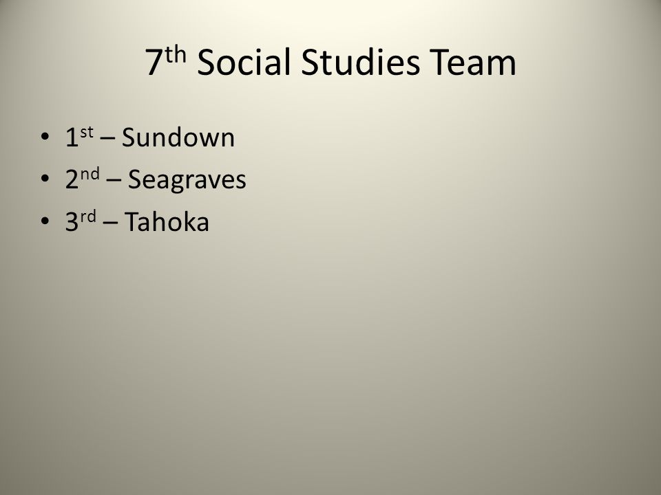 7 th Social Studies Team 1 st – Sundown 2 nd – Seagraves 3 rd – Tahoka