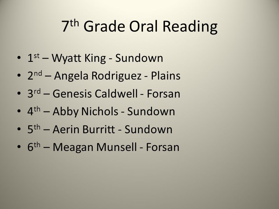 7 th Grade Oral Reading 1 st – Wyatt King - Sundown 2 nd – Angela Rodriguez - Plains 3 rd – Genesis Caldwell - Forsan 4 th – Abby Nichols - Sundown 5 th – Aerin Burritt - Sundown 6 th – Meagan Munsell - Forsan