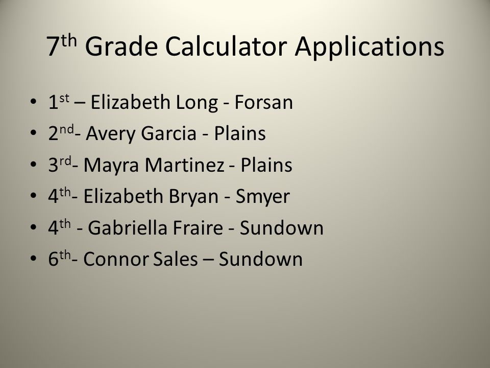 7 th Grade Calculator Applications 1 st – Elizabeth Long - Forsan 2 nd - Avery Garcia - Plains 3 rd - Mayra Martinez - Plains 4 th - Elizabeth Bryan - Smyer 4 th - Gabriella Fraire - Sundown 6 th - Connor Sales – Sundown
