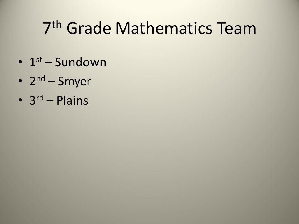 7 th Grade Mathematics Team 1 st – Sundown 2 nd – Smyer 3 rd – Plains