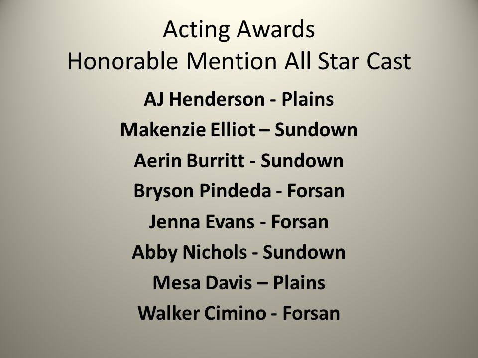 Acting Awards Honorable Mention All Star Cast AJ Henderson - Plains Makenzie Elliot – Sundown Aerin Burritt - Sundown Bryson Pindeda - Forsan Jenna Evans - Forsan Abby Nichols - Sundown Mesa Davis – Plains Walker Cimino - Forsan