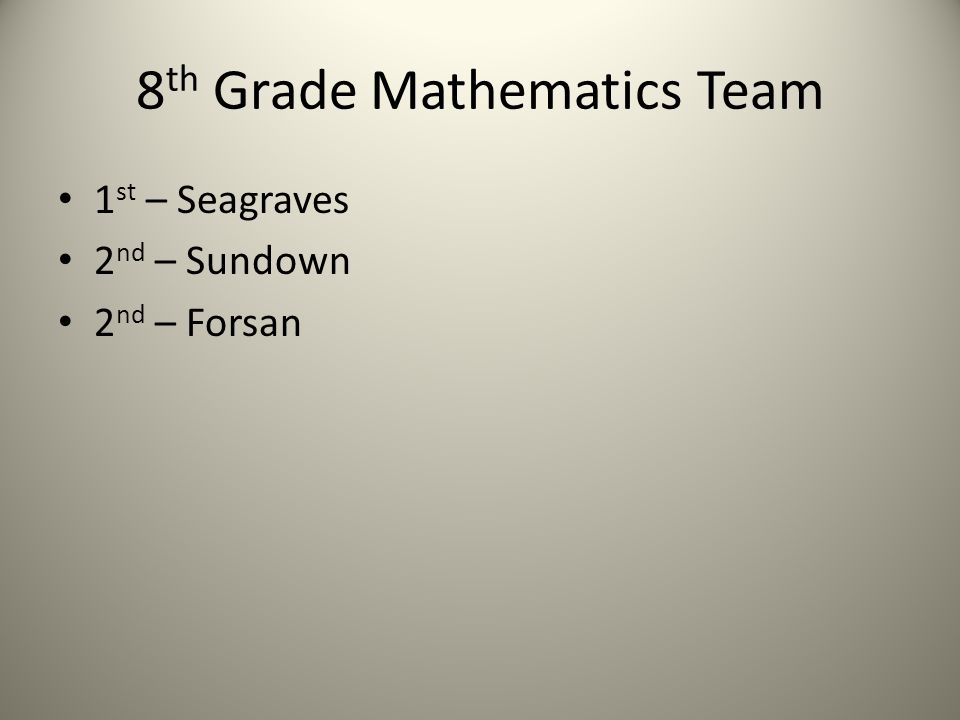 8 th Grade Mathematics Team 1 st – Seagraves 2 nd – Sundown 2 nd – Forsan