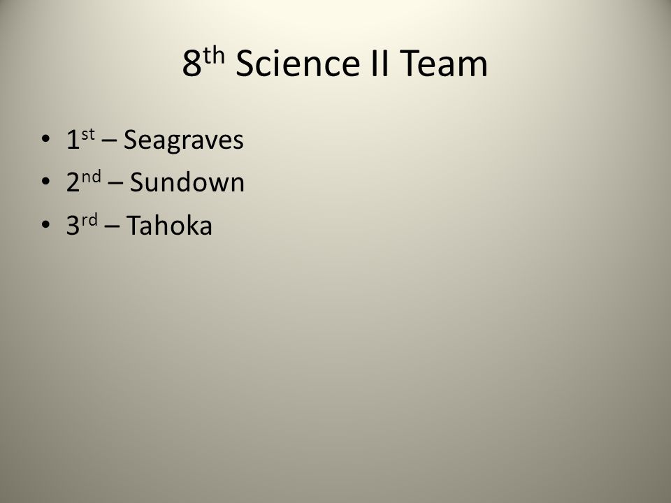 8 th Science II Team 1 st – Seagraves 2 nd – Sundown 3 rd – Tahoka