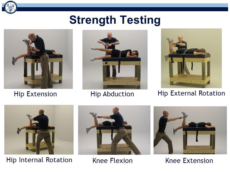 Hip ExtensionHip Abduction Hip External Rotation Hip Internal Rotation Knee FlexionKnee Extension Strength Testing