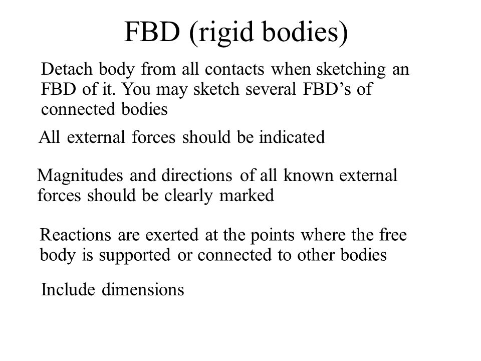 FBD (rigid bodies) All external forces should be indicated Magnitudes and directions of all known external forces should be clearly marked Reactions a