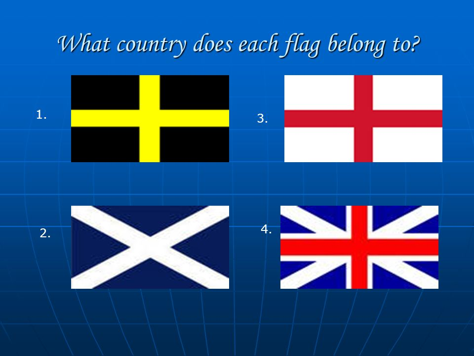 What country does each flag belong to 1. 2. 3. 4.