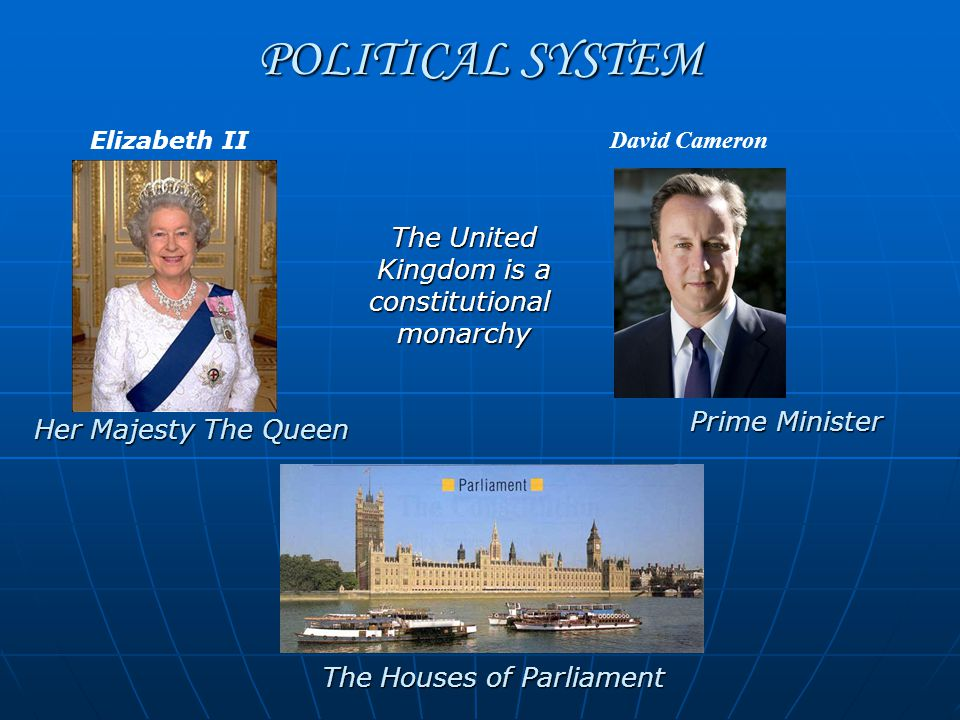 POLITICAL SYSTEM Her Majesty The Queen Prime Minister The Houses of Parliament The United Kingdom is a constitutional The United Kingdom is a constitu