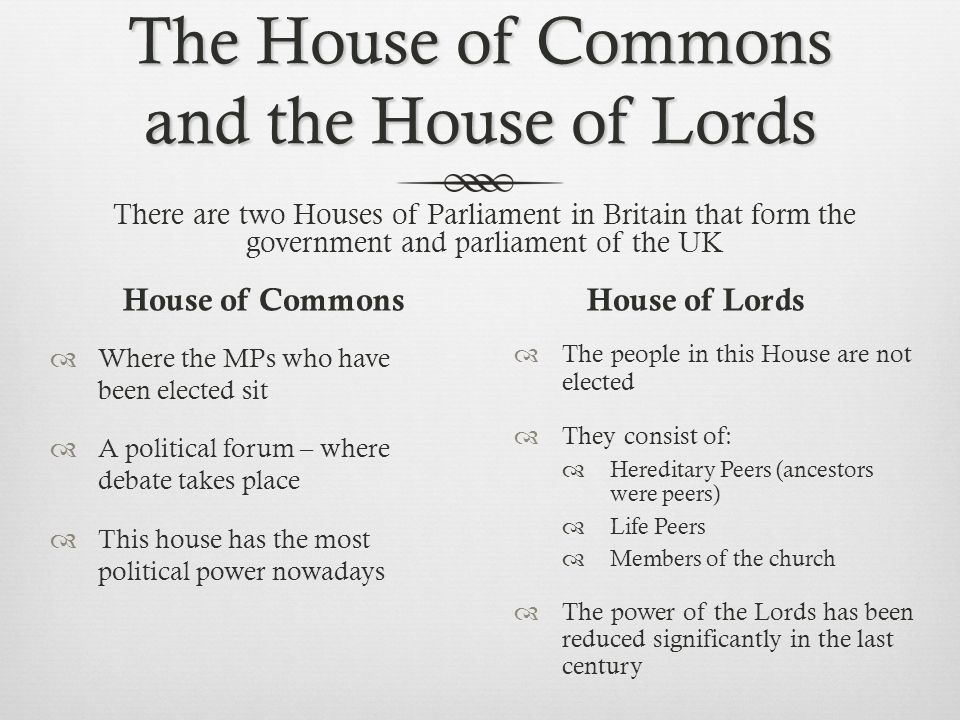 The House of Commons and the House of Lords House of Commons  Where the MPs who have been elected sit  A political forum – where debate takes place